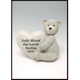 Sadly Missed Child Teddy & Heart Grave Ornament