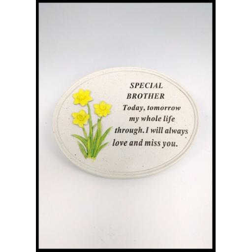 Memorial Raised Daffodil Rose Flower Grave Keepsake Stone Oval Plaques Tributes
