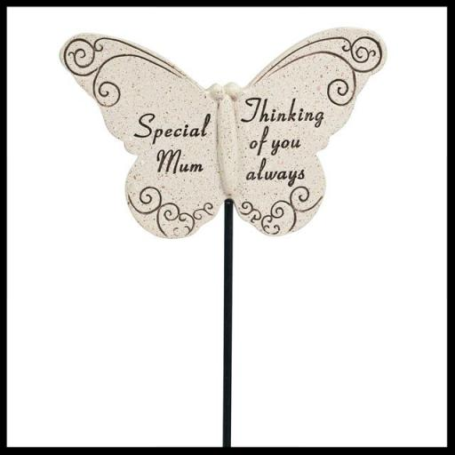 Pack of 2 Grave Ornament Memorial Special Mum Butterfly Spike Tribute