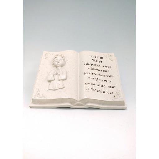 Memorial Praying Angel Cherub  Plaque Book