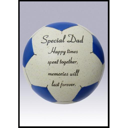 Special Dad Blue Memorial Football Cream & Blue Grave Ornament