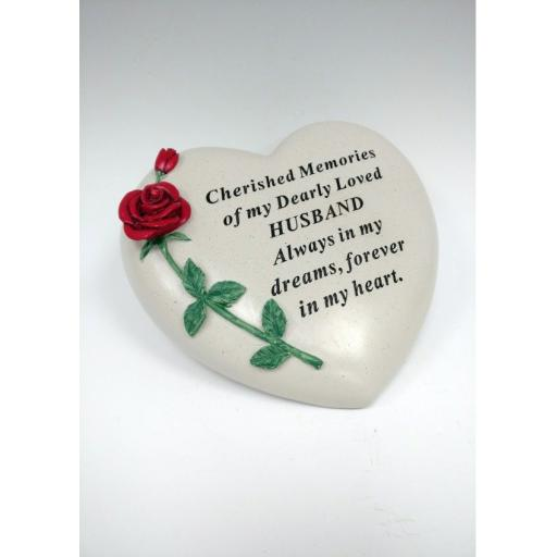 Large Red Rose Heart Stone
