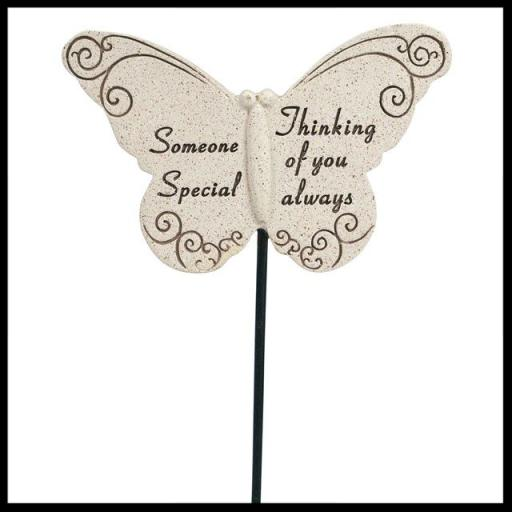 Pack of 2 Grave Ornament Memorial Someone Special Butterfly Spike Tribute
