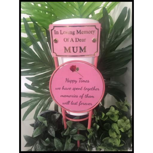 Pink or Black metal flower pot small rose and wording