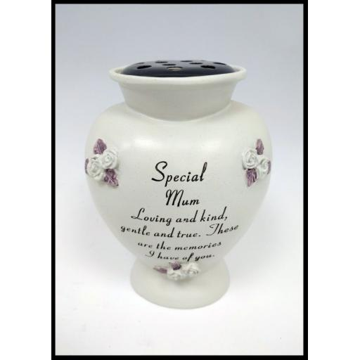 Special Graveside Memorial Rose Flower Bowl Grave Vase Ornament Mum, Dad Etc.
